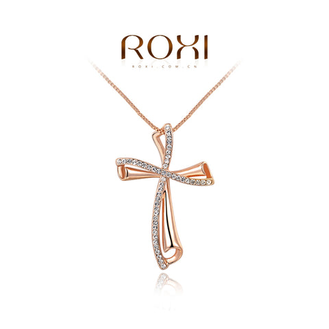 ROXI Brand Luxury Gold Color Cross Women Necklaces Pendant Fashion Women Czech Stone Necklace Jewlery Design Femme Wholesale
