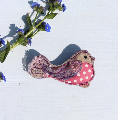 Purple/ Pink Bird brooch