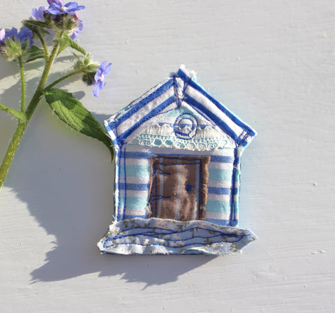 Blue striped Beach Hut Brooch