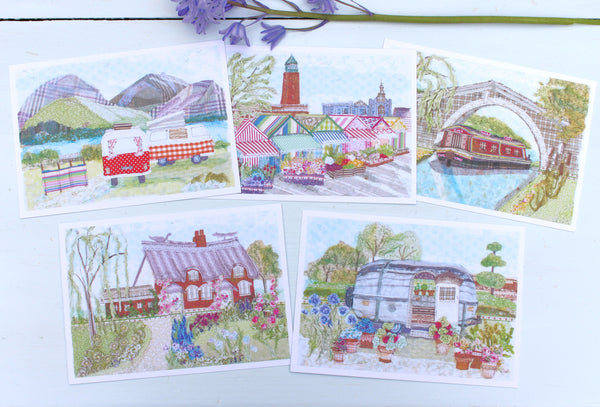 Set of 5 Destination  Postcards