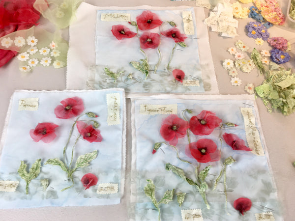 Poppy Embroidery Framed