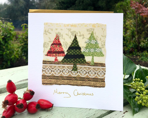 Handmade Christmas card- Three Christmas Trees