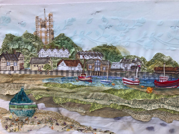 Leigh on Sea Landscape embroidery - Framed