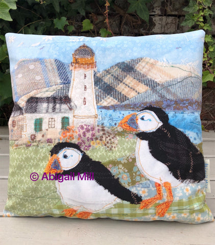 Puffin/ Oyster Catcher Velvet Cushion