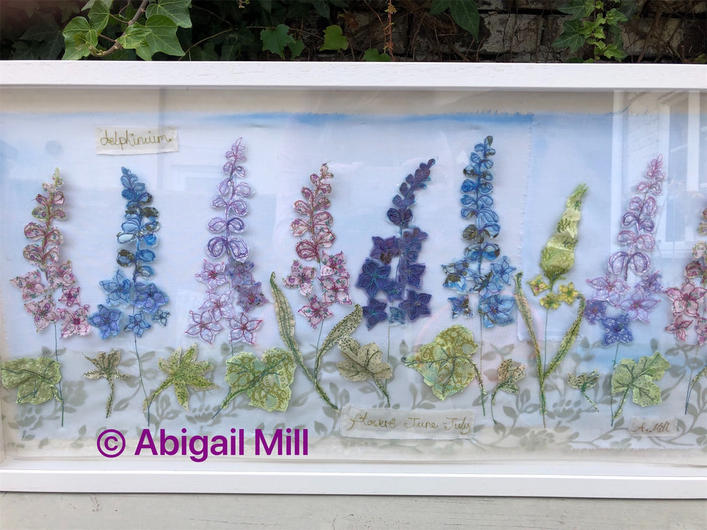 Landscape  Delphinium embroidery - Framed