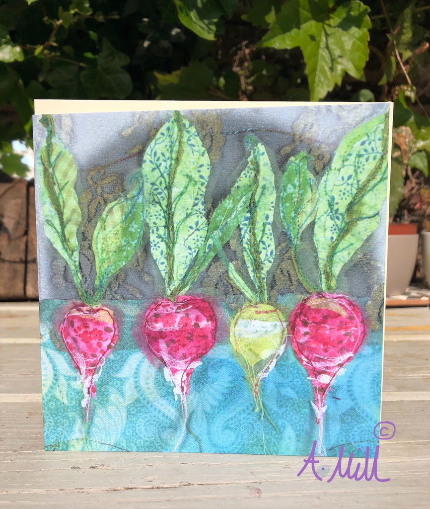 Radishes Greetings card