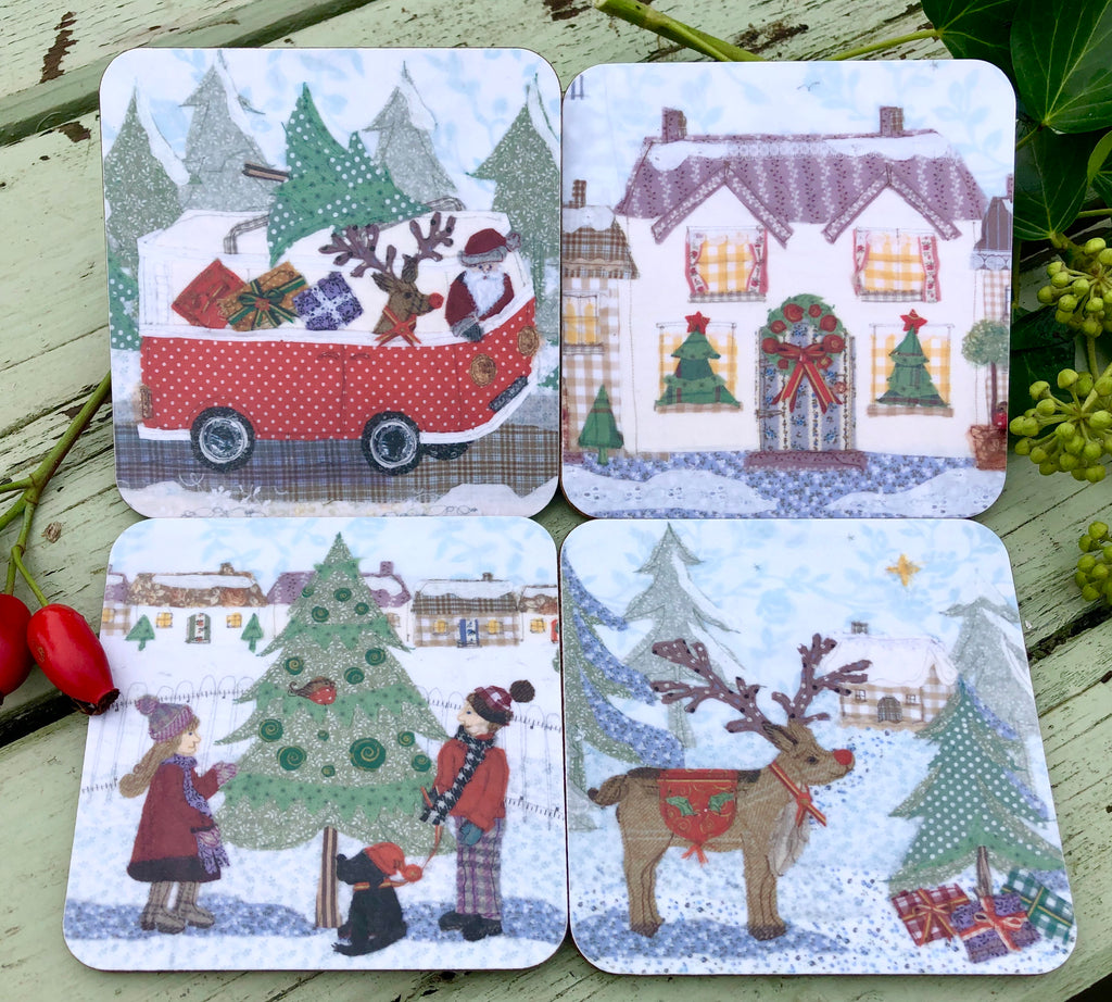 Christmas Coaster Set x 4