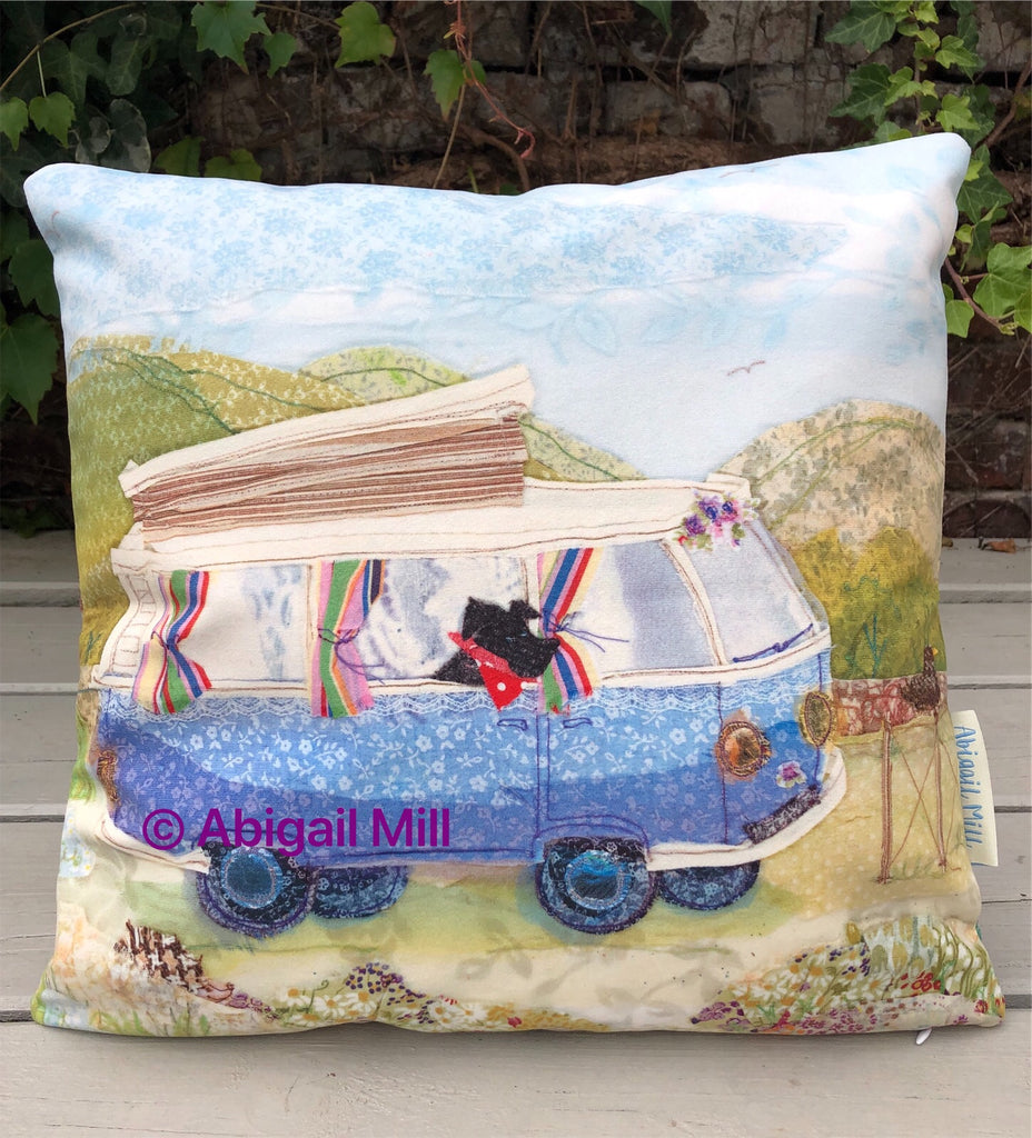 Scotty dog/ Highland Camper Velvet Cushion