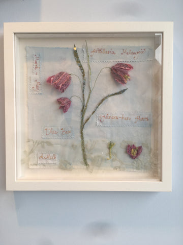 Fritillary Embroidery Framed