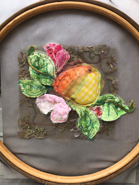 Apple blossom  embroidery hoop