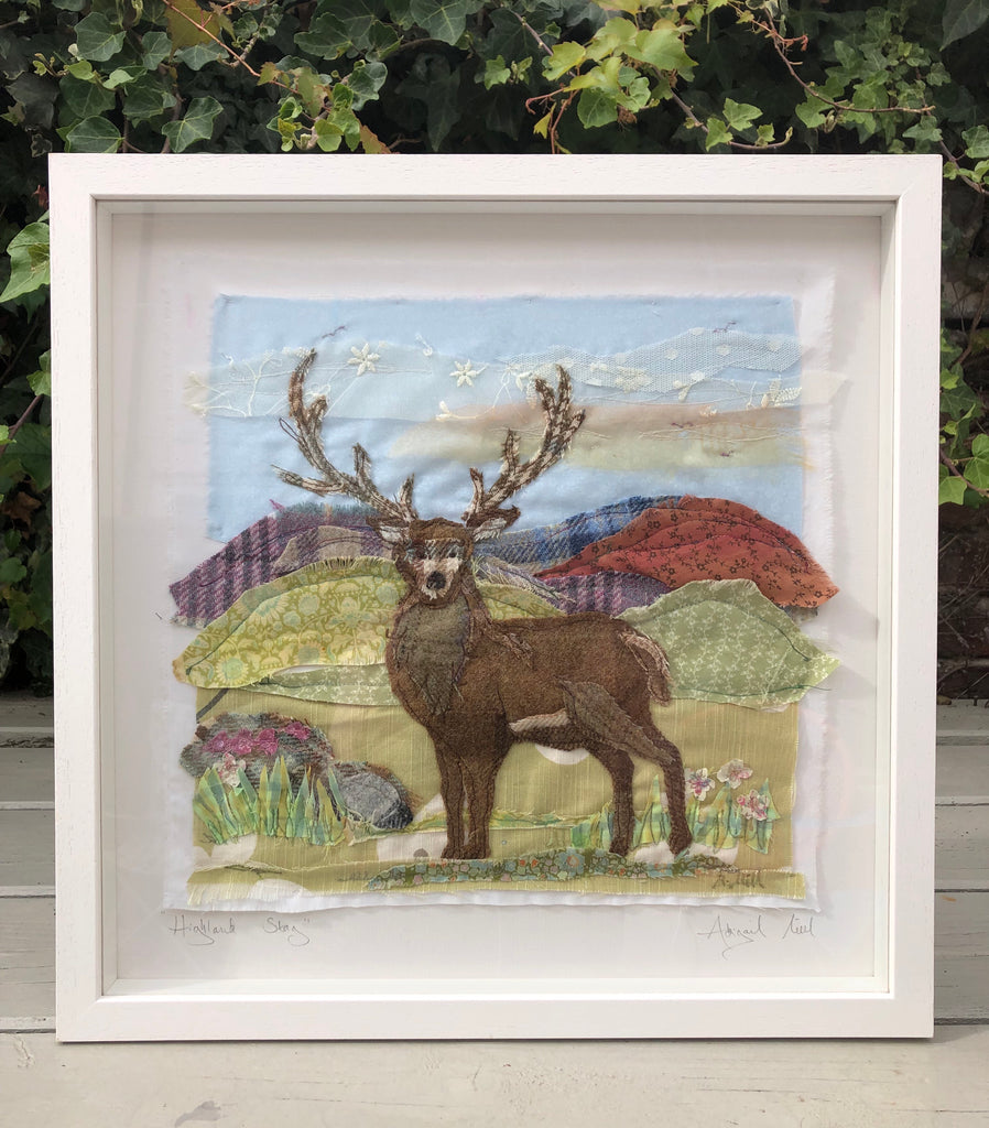 Tweedies stag embroidery - Framed