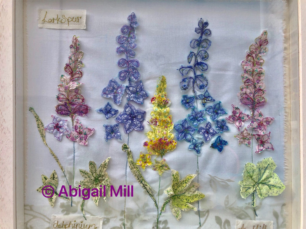 Delphinium embroidery - Framed