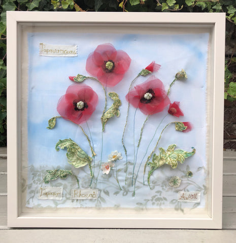 Poppy embroidery - Framed