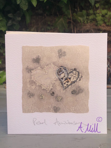 Pearl Anniversary Handmade Greetings card