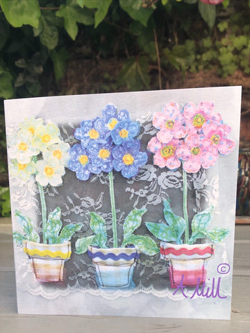 Primula Pots Greetings card