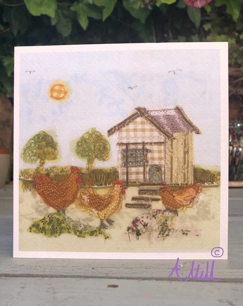 Hen house Greetings card