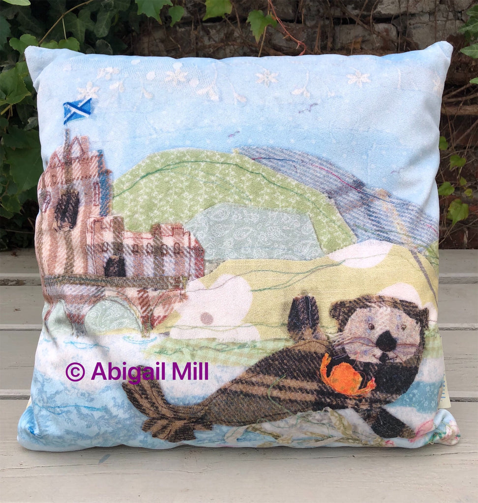 Sea Otter/ Crofters Cottage Velvet Cushion