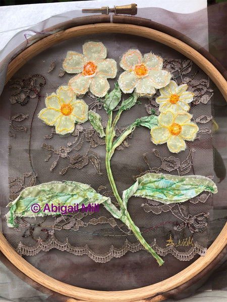 Primula embroidery hoop