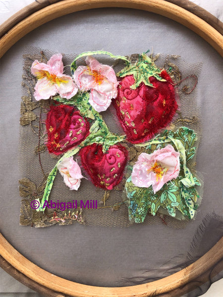 Strawberry embroidery hoop