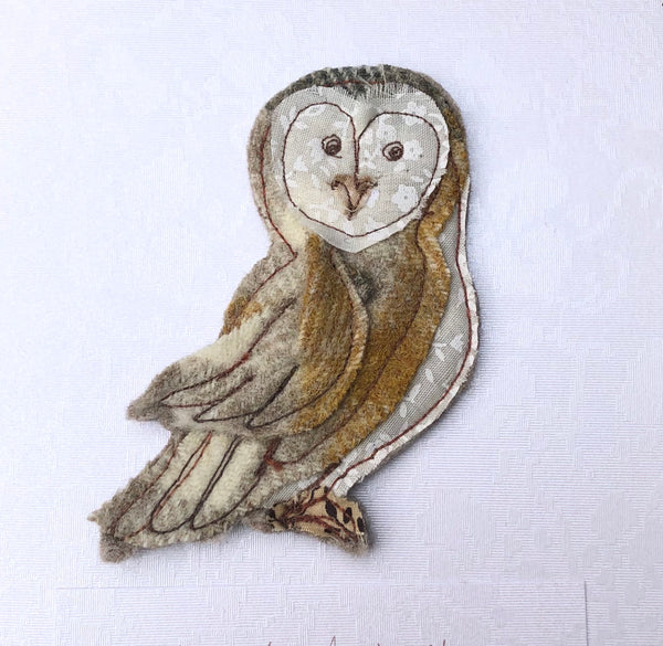 Barn Owl brooch Card jewellery