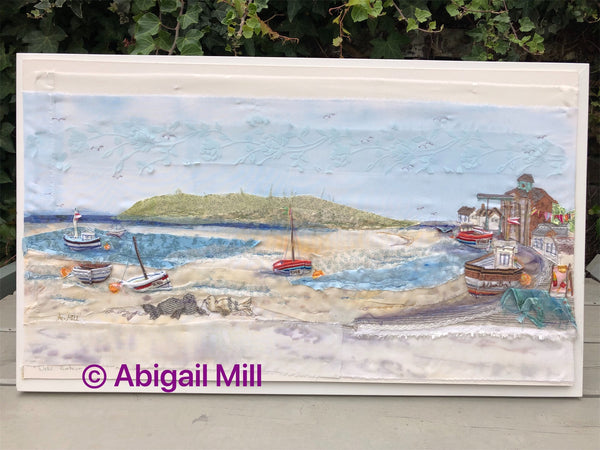 Wells Harbour Landscape embroidery - Framed