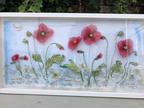 Landscape  Poppy embroidery - Framed