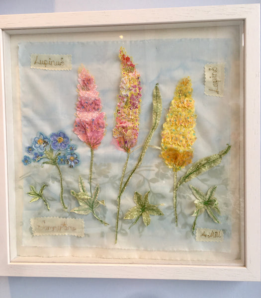 Lupine embroidery - Framed