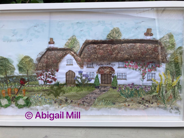 Rose cottage Landscape embroidery - Framed