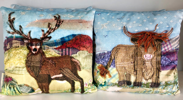 Stag/ Highland Cow Velvet Cushion