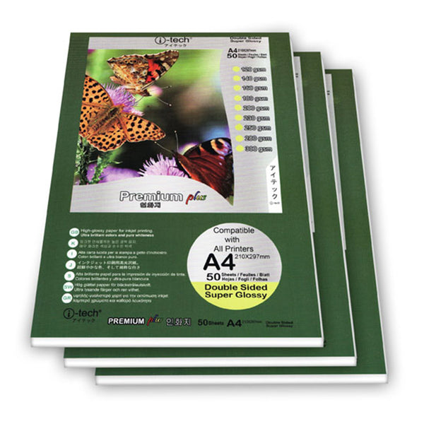 I-TECH GLOSSY PHOTO PAPER DOUBLE SIDED A4 140 GSM 50 SHEET ( 1 PACK)