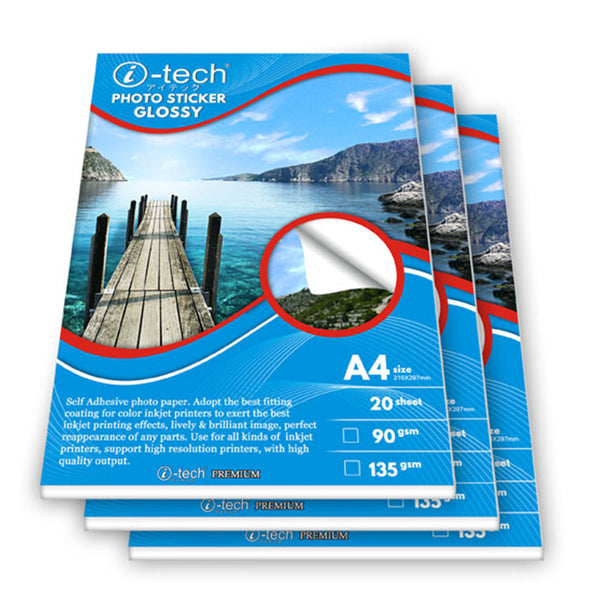 I-TECH PHOTO STICKER PAPER GLOSSY A4 SIZE 90GSM 20 SHEET ( 1 PACK)