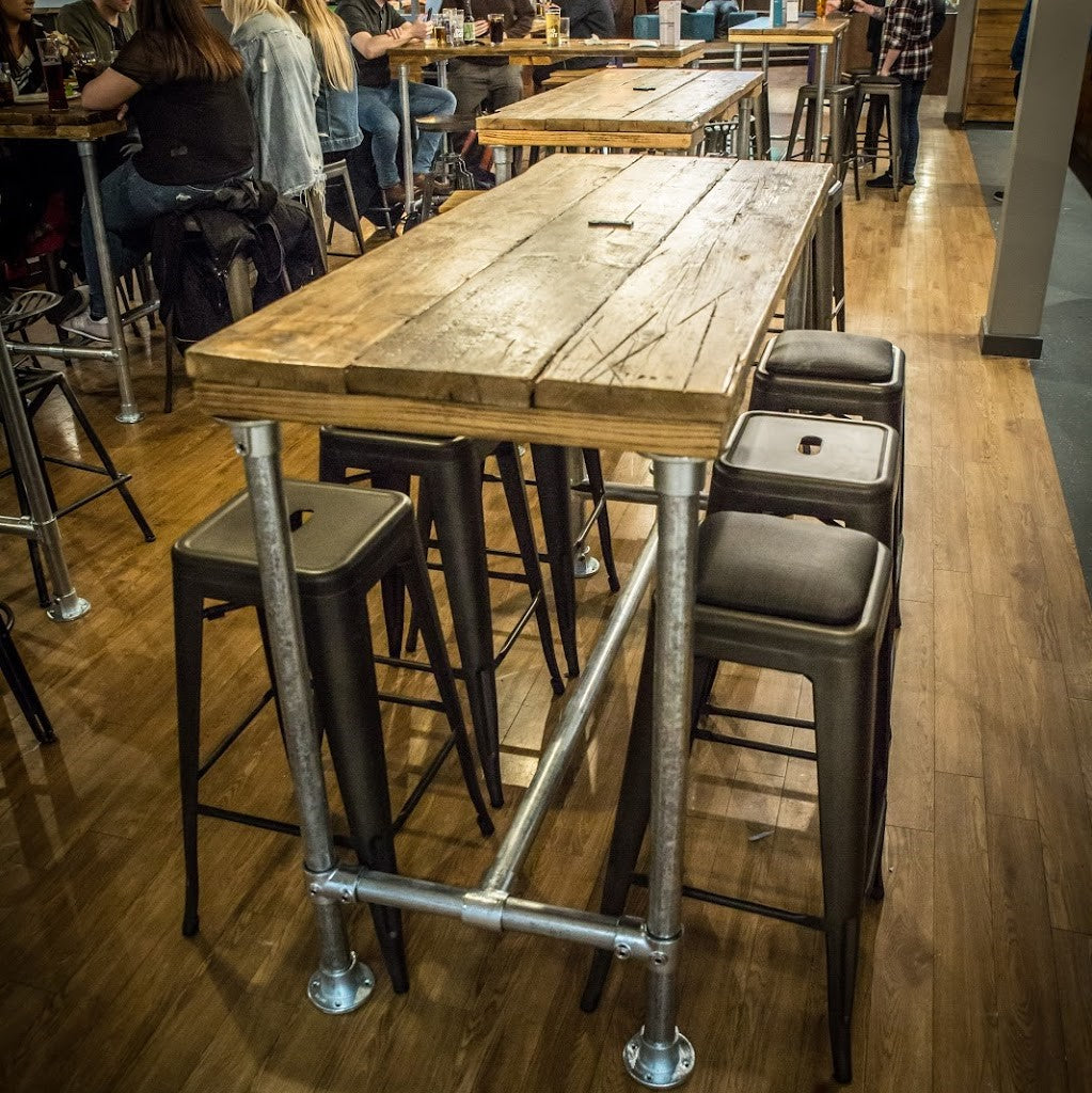 Breakfast Bar High Table Dining Kitchen Island Industrial Modern Rustic Reclaimed Timber