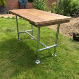 Dining Table Industrial Modern Rustic Reclaimed Timber Wood 3 Planks Galvanised Steel Legs