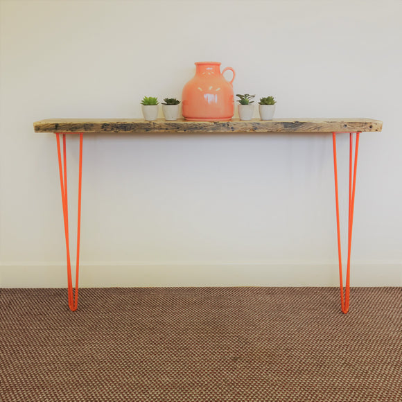 Console Table Orange Hairpin Legs Industrial Rustic Reclaimed Timber