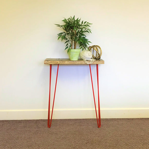 Console Table / Red Hairpin Legs / Industrial / Rustic / Reclaimed Timber