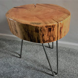 Side Table Log Industrial Modern Rustic Hairpin Legs