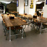 Dining Table Industrial Modern Rustic Reclaimed Timber Wood 4 Planks Steel Legs