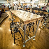 Breakfast Bar / High Table / Dining Table / Kitchen Island Industrial Modern Rustic Reclaimed Timber Wood Planks Galvanised Steel Legs