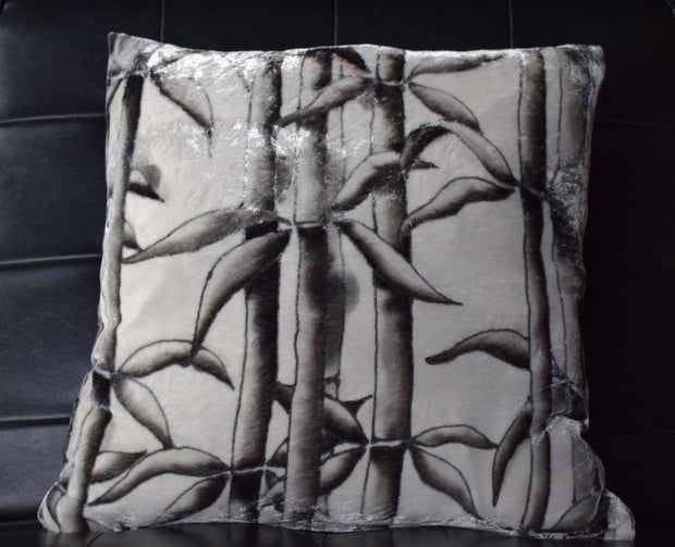 Bamboo Hand Painted Velvet Cushion black /grey colourway