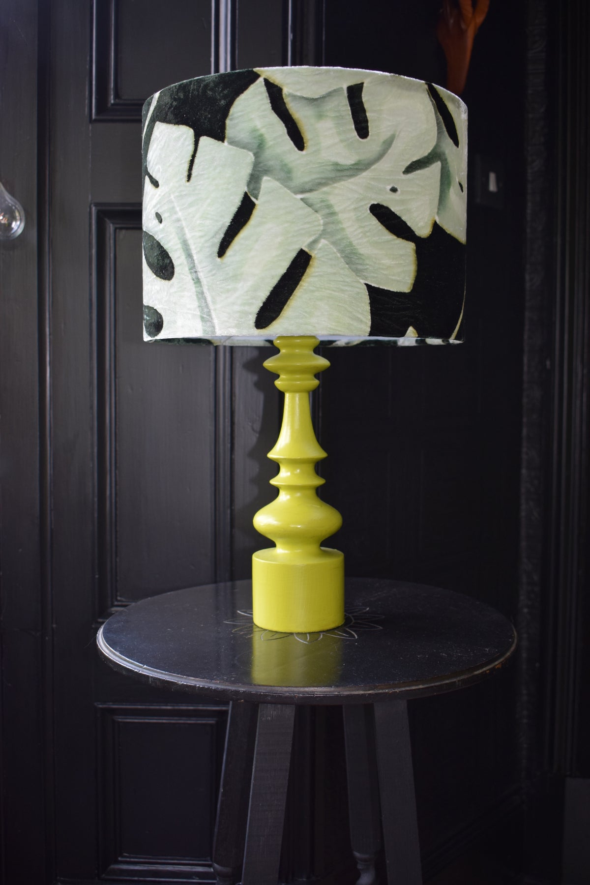 Leaf Hand Painted Velvet Lampshade - Mint 30cm lampshade lamp fitting
