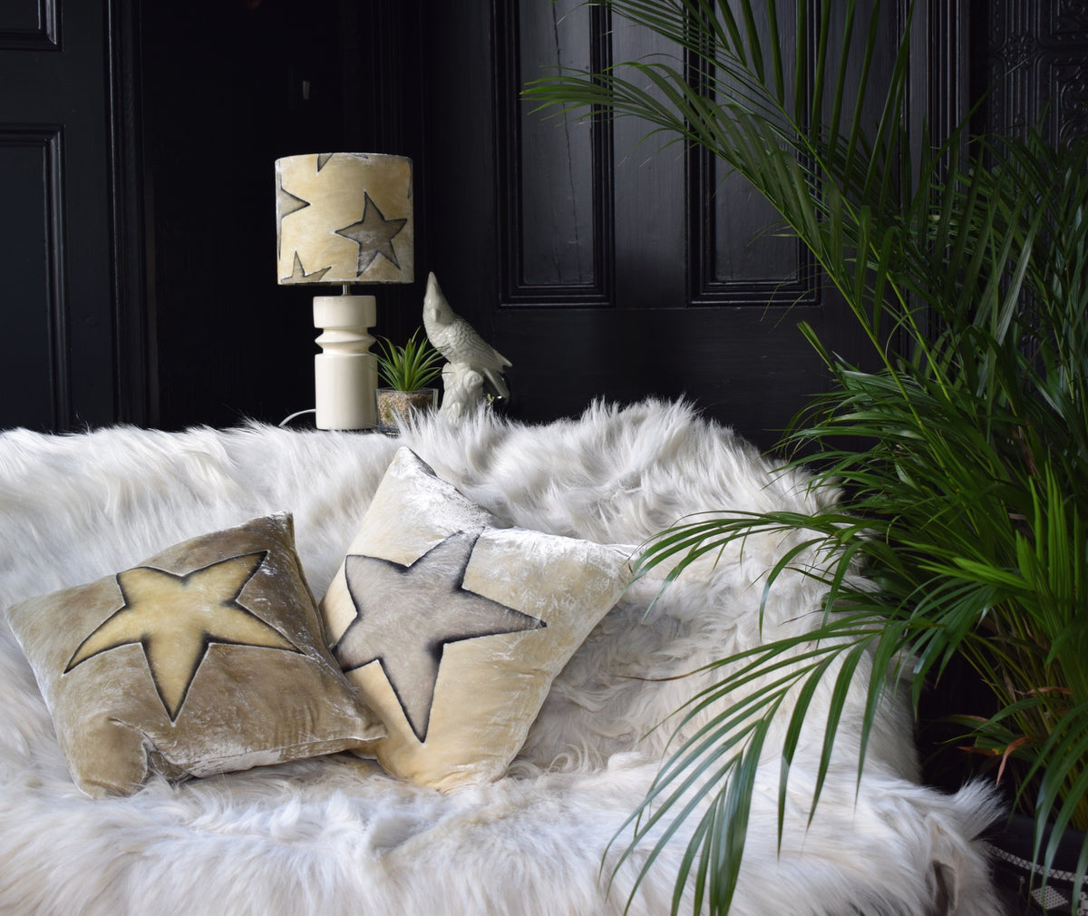 Star Hand Painted Velvet Lampshade – Cream/Grey 20cm lamp fitting with matching cushion and mushroom cushion