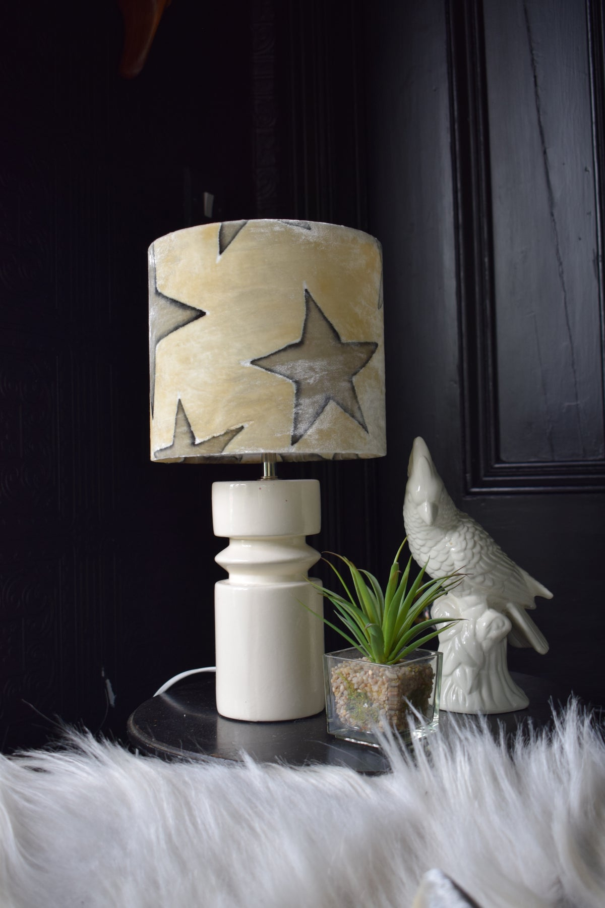 Star Hand Painted Velvet Lampshade – Cream/Grey 20cm lamp fitting
