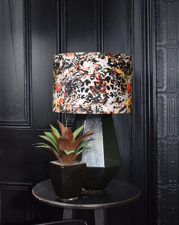 Animal recycled fabric lampshade, 30cm lamp fitting