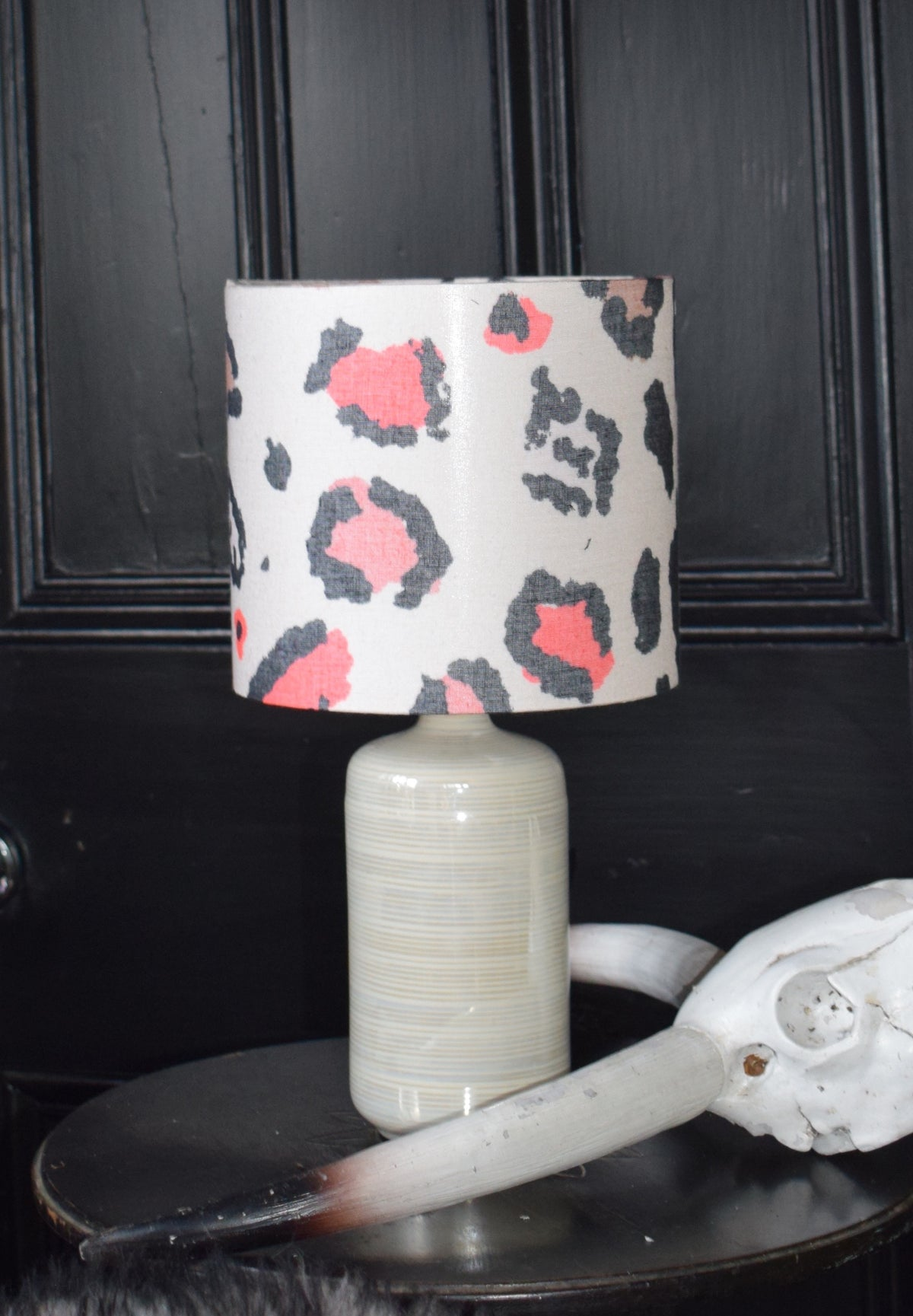Betty Recycled Fabric Lampshade 20cm lamp fitting other view