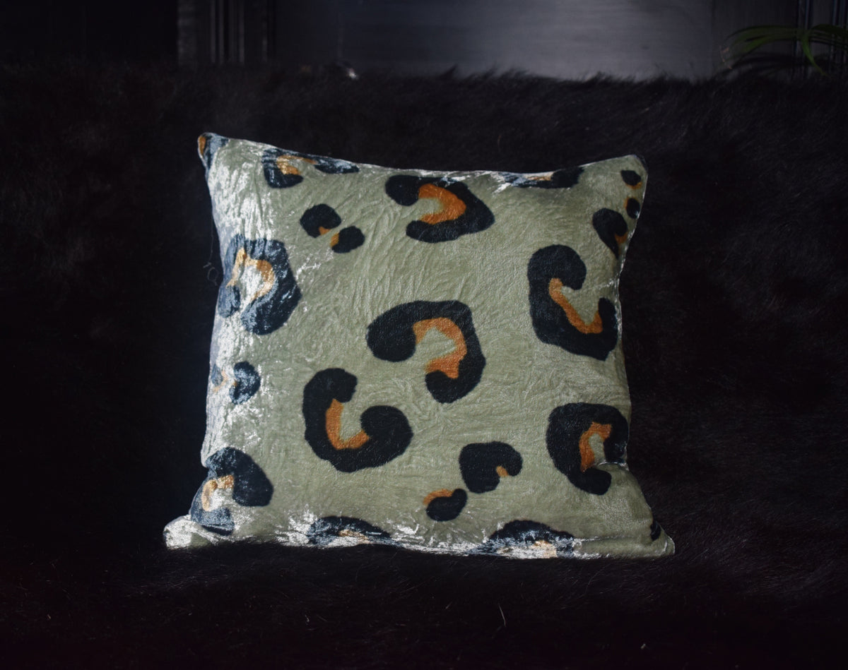 Leopard Hand Painted Velvet Cushion sludgy grey green and black colourway.