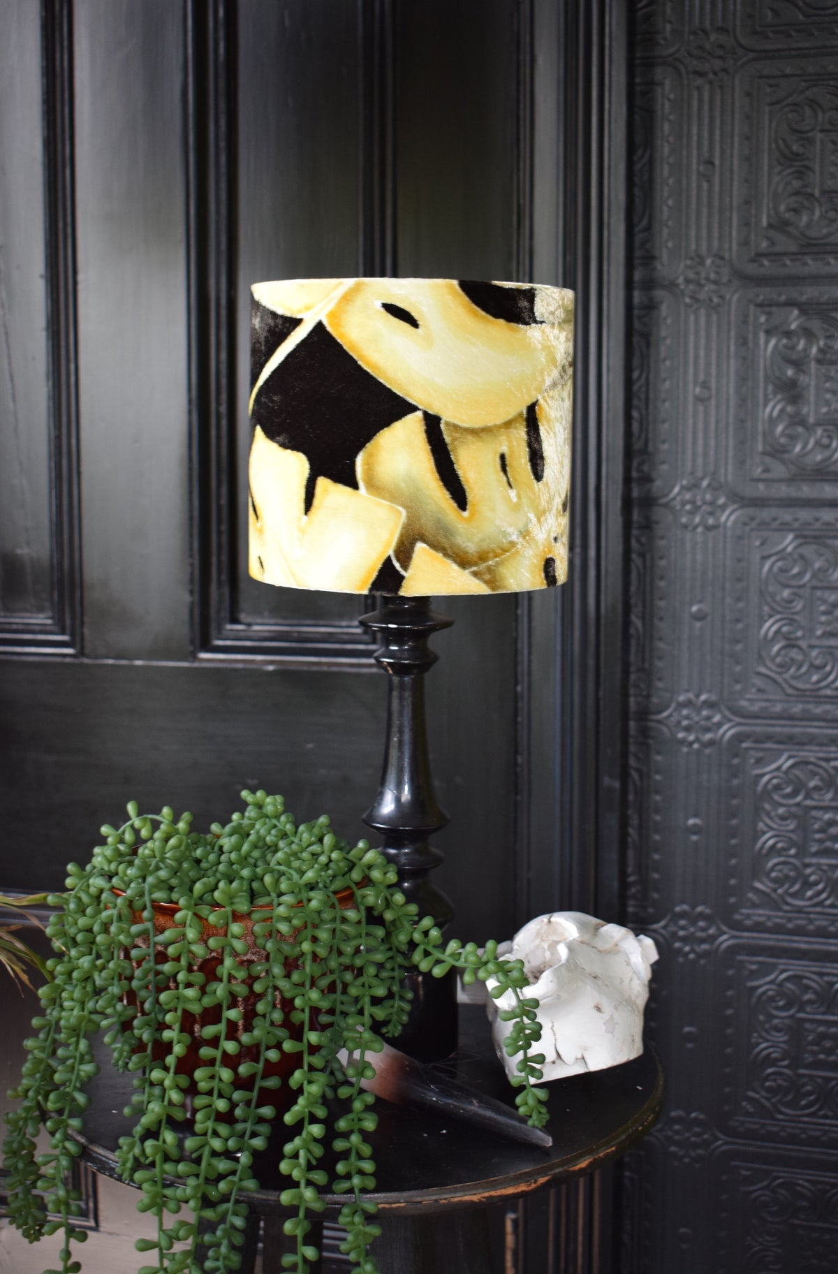 Leaf Hand Painted Velvet Lampshade - Mustard 20cm lampshade lamp fitting