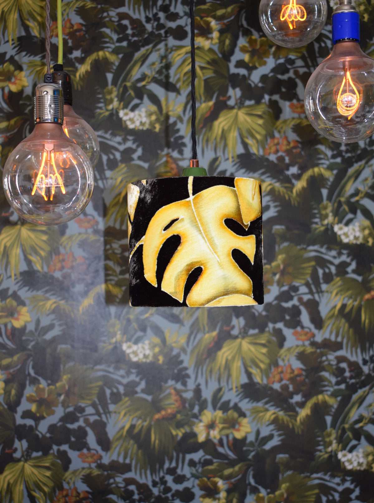 Leaf Hand Painted Velvet Lampshade - Mustard 20cm lampshade ceiling fitting