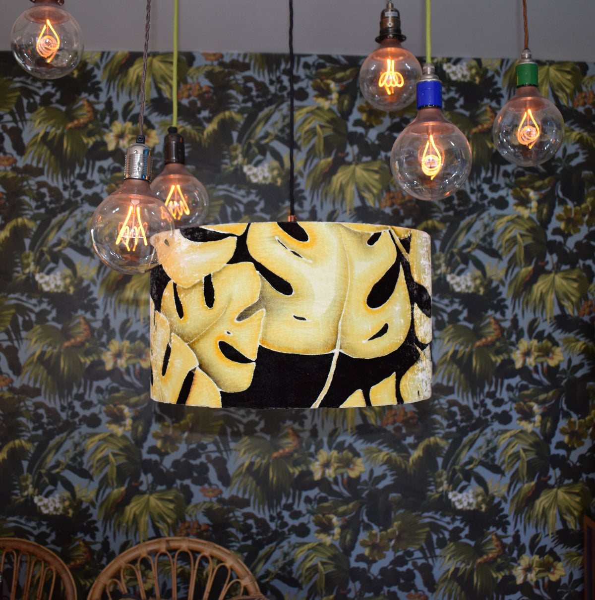 Leaf Hand Painted Velvet Lampshade - Mustard 45cm lampshade ceiling fitting