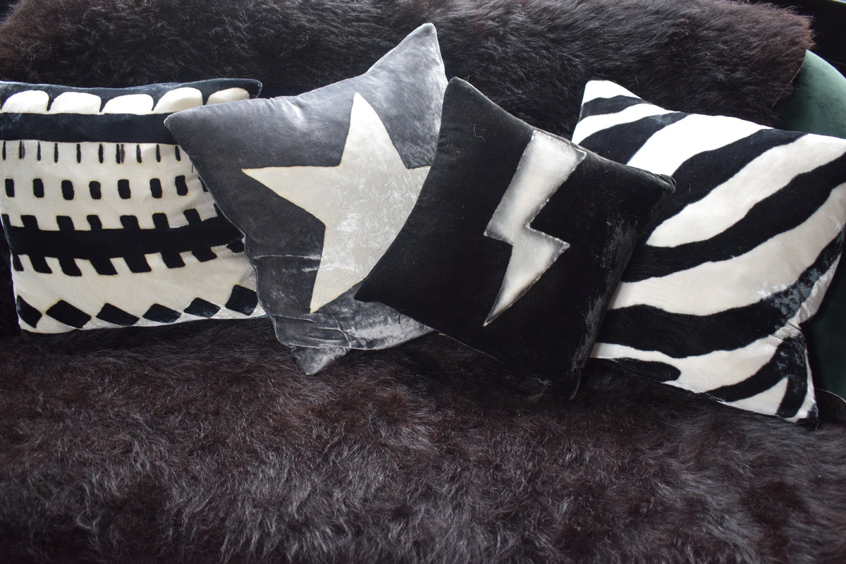 Lighting Hand Painted Velvet cushions, black and white with other cushions