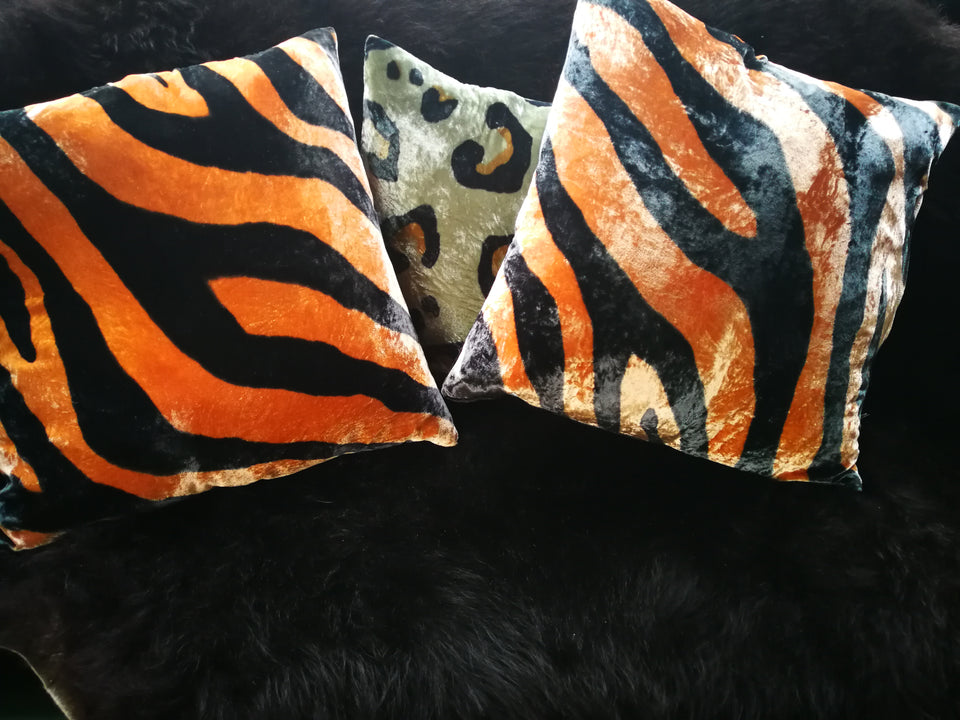Zebra Hand Painted Velvet Cushion ginger and black with leopard cushion